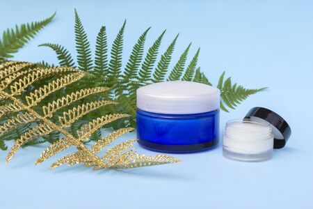 Blank two jars of cream on light blue background with green, golden fern palm leaves. Cosmetic skincare products, modern concept of organic beauty trend. 写真素材