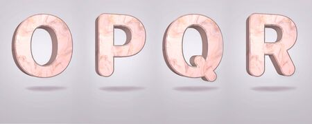 Set of capital letters O, P, Q, R in pink marble, stone alphabet design, isolated gray background, 3d rendering. Banco de Imagens