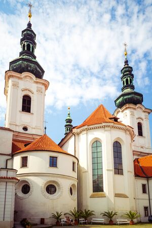 Strahov Monastery - basilica of Assumption of Our Lady in Petrin hill, Prague, Czech Republic. Stock Photo