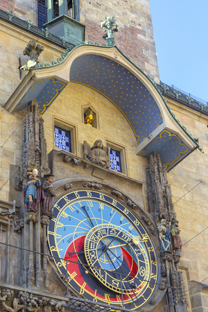 Prague medieval astronomical clock (Orloj) on Old Town Hall tower, Prague, Czech republic