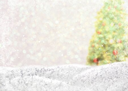 Christmas background with New Year tree, framed by bright lights and snowdrifts with snowflakes. Stock fotó - 131829178