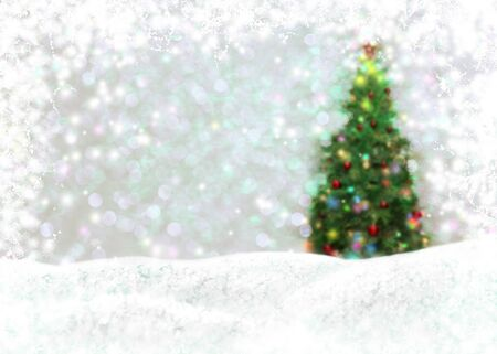 Christmas background with New Year tree, framed by bright lights and snowdrifts with snowflakes. Stock fotó - 131829552