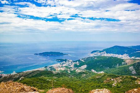 Beautiful panoramic landscape of Adriatic sea, island of Saint Nicholas, mountains on Coast Budva Riviera, Montenegro Stock fotó - 131843918