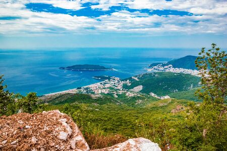Beautiful panoramic landscape of Adriatic sea, island of Saint Nicholas, mountains on Coast Budva Riviera, Montenegro Stock fotó - 131843586