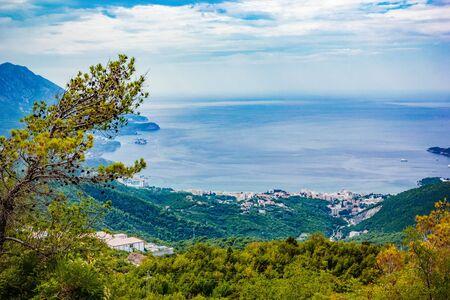 Panoramic view of landscape Adriatic sea, mountains on Coast Budva Riviera, Montenegro Stock fotó - 132183147