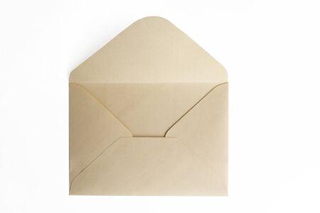 Blank paper blue envelope, letter for mail on white background.
