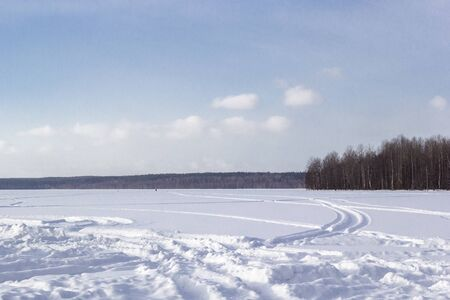 Beautiful winter landscape with field of white snow and forest on horizon on sunny frosty day.