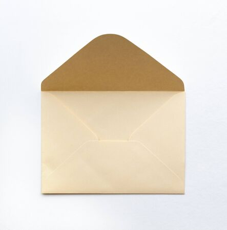 Blank paper blue envelope, letter for mail on white background, flat lay, top view. Concept postal service or greeting card Stock fotó