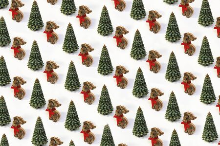 Trendy Xmas pattern made of wooden Christmas tree and deer with red bow on white isometric background in minimal style. Creative concept new Year card.