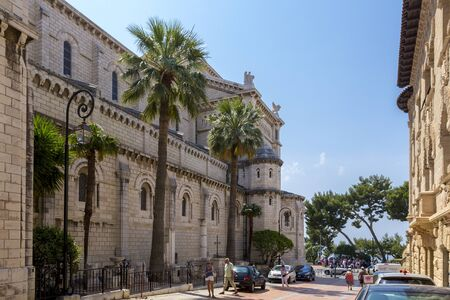 MONTE CARLO, MONACO - JUNE 10, 2014:  Monaco Cathedral (Cathedral of Our Lady Immaculate, Saint Nicholas Cathedral) of Monte-Carlo in principality of Monaco, France Editorial