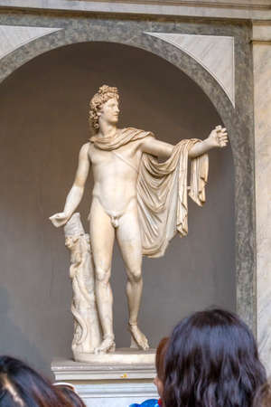 VATICAN, VATICAN CITY - JUNE 16, 2014: Marble roman copy Apollo Belvedere, sculptor of Alexander the Great, Leochar, original is not preserved in Museum of Pius Clement, Belvedere Palace, Rome, Italy. Redakční