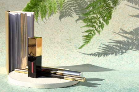 Set of cosmetic products - red lipstick, mascara, eyeliner on light background of nature with fern leaves. Decorative beauty accessories for woman.