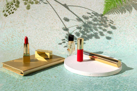 Set of cosmetic products - red lipstick, mascara, eyeliner on light background of nature with shadow from flowers. Decorative beauty accessories for woman. Standard-Bild