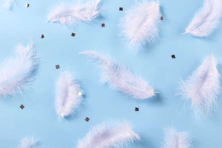 White feather and sIlver confetti on blue background. Soft delicate texture. Stylish luxury pattern. Flat lay, top view