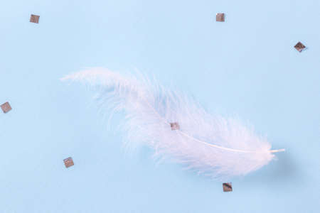 White feather and sIlver confetti on blue background. Soft delicate texture. Flat lay, top view
