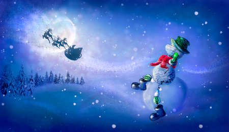 Snowman with virus mask sees off Santas magic sleigh with reindeer flying at night over fairy forest with moon. Concepts Corona virus -COVID19 in Christmas, New Year