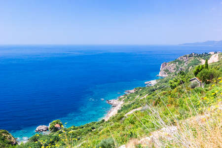 Panoramic view of beautiful landscape mountains and coastline azure sea. Aerial skyline of beaches and Adriatic coast, Montenegro