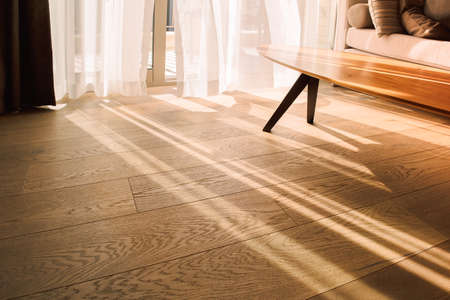 Modern room interior with an open window in minimal style. Transparent tulle with morning sun rays on shadow background.