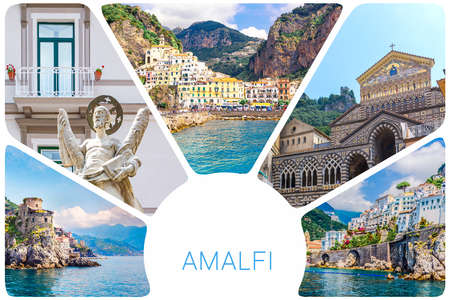 Photo collage from Amalfi - small haven of Amalfi village with tiny beach and colorful houses, located on rock, Amalfi coast, Salerno, Campania, Italy 版權商用圖片