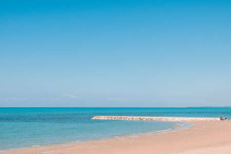 Beautiful landscape with white sand beach. Panoramic view on blue sky and azure coast sea on natural background. Luxury summer vacation. 版權商用圖片