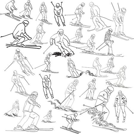 Набор лыжников Иллюстрация