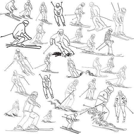 Set of skiers Vector