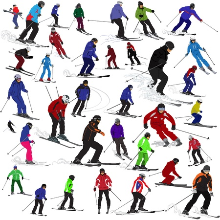 mountain skier: Set of skiers