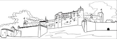 Крепость Хоэнзальцбург Иллюстрация