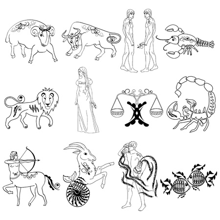 pisces star: Zodiac Signs Illustration