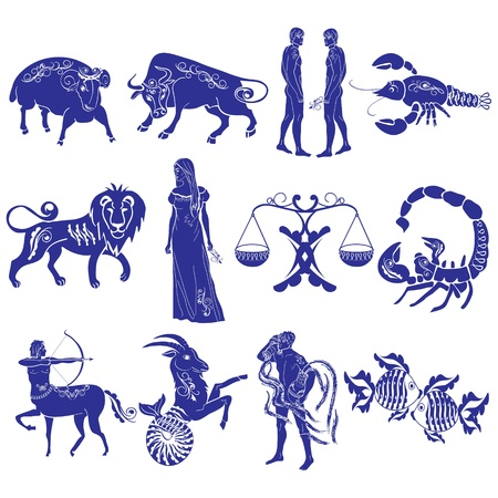 aquarius star: Zodiac Signs Illustration