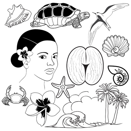 seychelles: Set of Seychelles icons Illustration