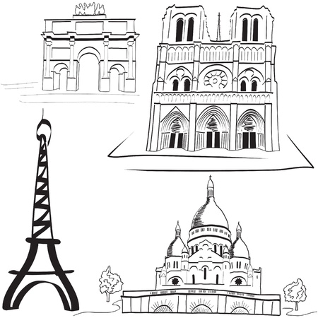 Parisian landmarks Illustration