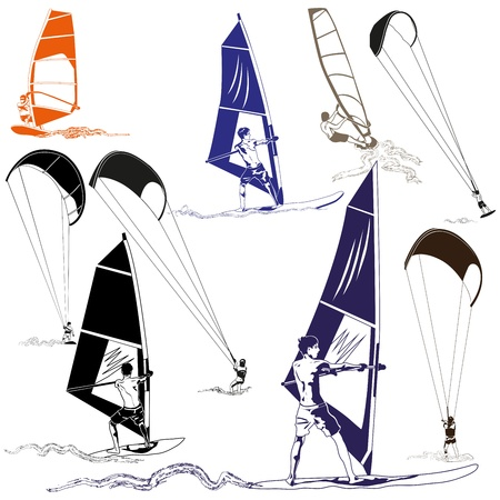 wind surfing: Kite and Wind Surfers