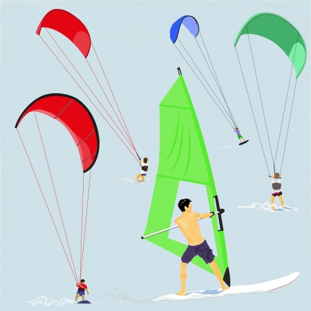 Kite and Wind Surfers Vector