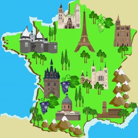 Вектор Туристическая карта Франции