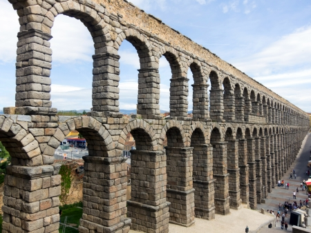 Panoramic Roman Aqueduct in Segovia, Spain. Famoust monument.