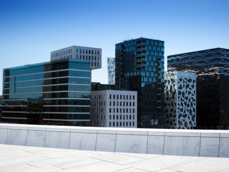 View of office buildings in Oslo, Norway