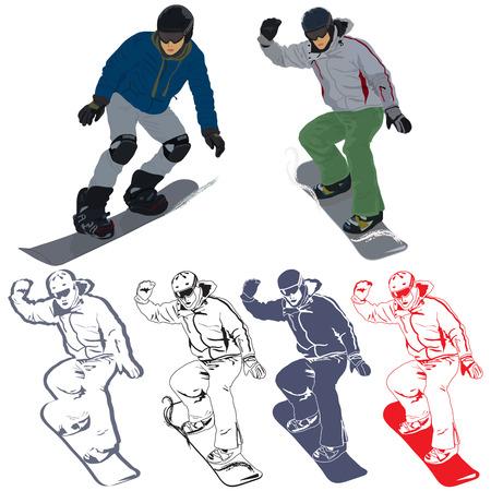Набор изображений с сноубордист в действии