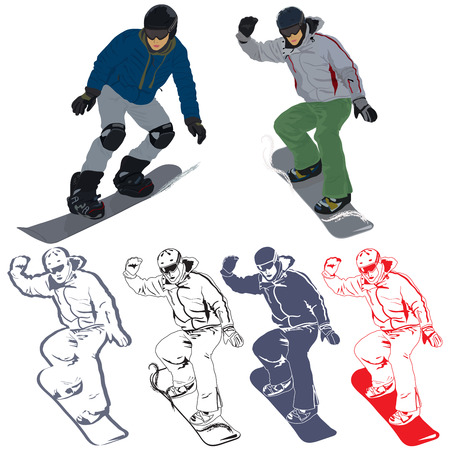 Set of images with snowboarder in action