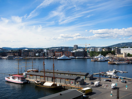 Beautiful view of the city Oslo and harbour, Norway
