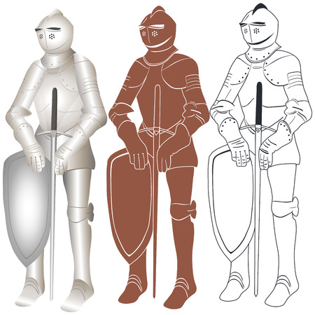 crusades: Vector illustration of a knight in iron armour