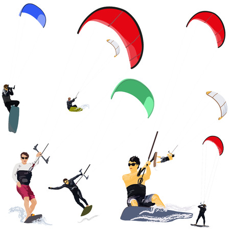 kite surfing: Collection of vector kitesurfers in various poses
