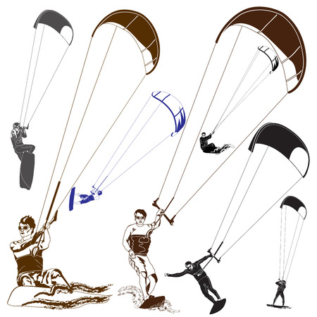 Kite surfers Vector