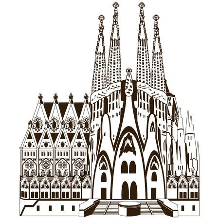 barcelona: Vector image of  Familia in Barcelona Illustration