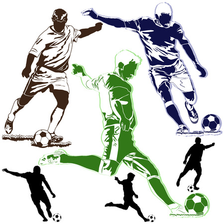unrecognizable person: Detailed vector illustration of soccer football players on white background
