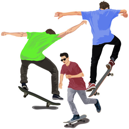 adolescent: Set of skateboarders on white background Illustration