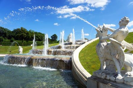 man waterfalls: Beautiful fountan in the Belvedere, Vienna, Austria