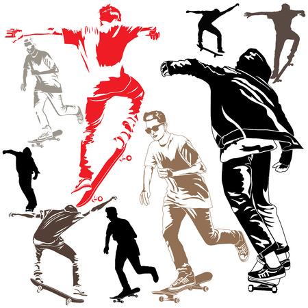 skateboard: Set of skateboarders on white background Illustration