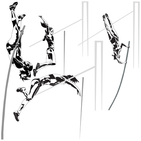 pole vault: Set of High Jump on white background
