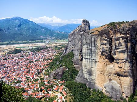 kalabaka: Tall rocks and beautiful town of Kalabaka, Greece Stock Photo